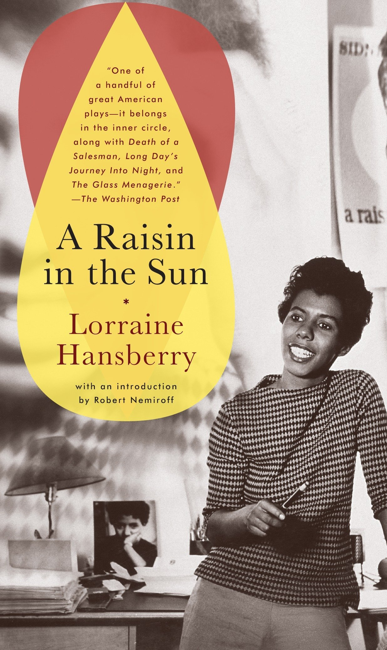 Front cover of Lorraine Hansberry's Raisin in the Sun, with an image of a smiling Hansberry